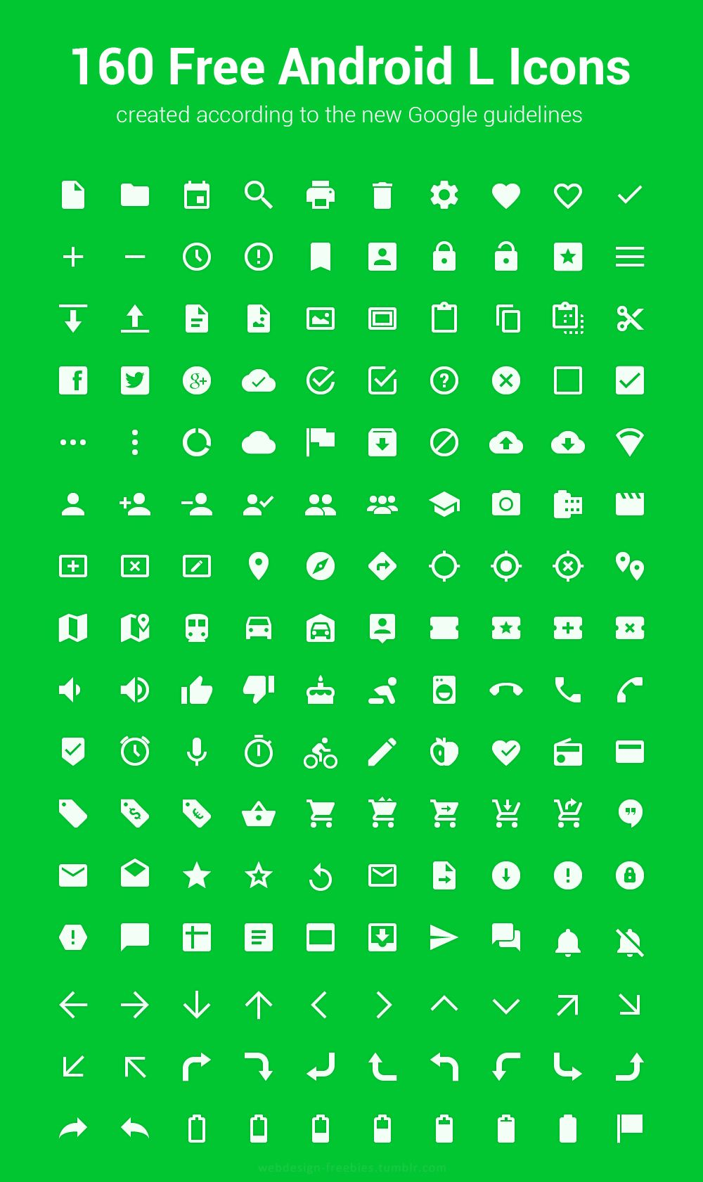 160 Free Android L Icons Web design freebies, Android