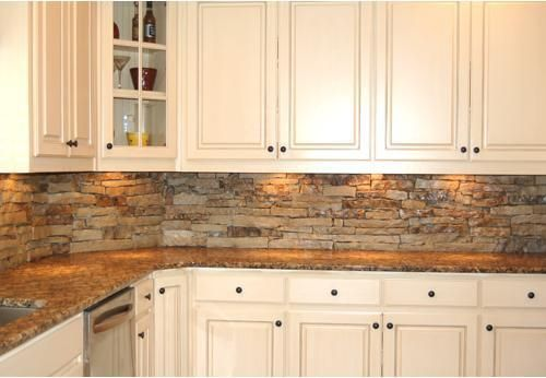 Fieldstone Veneer Kitchen Backsplash