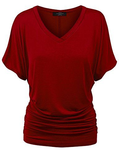 819544d6cc66 MBJ Womens Solid Short Sleeve Boat Neck Dolman Top with Side Shrring - Made  in USA at Amazon Women's Clothing store: