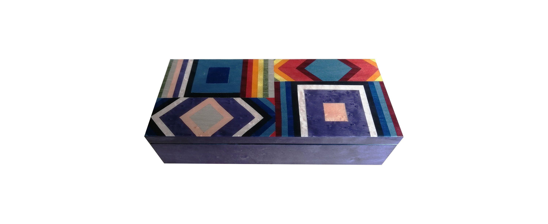 "Inlaid wooden box 23×10 cm ""Colored Square Design"""