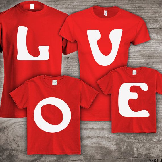 Personalized Valentines Day Family T Shirts Set Of 4 By Stoykots