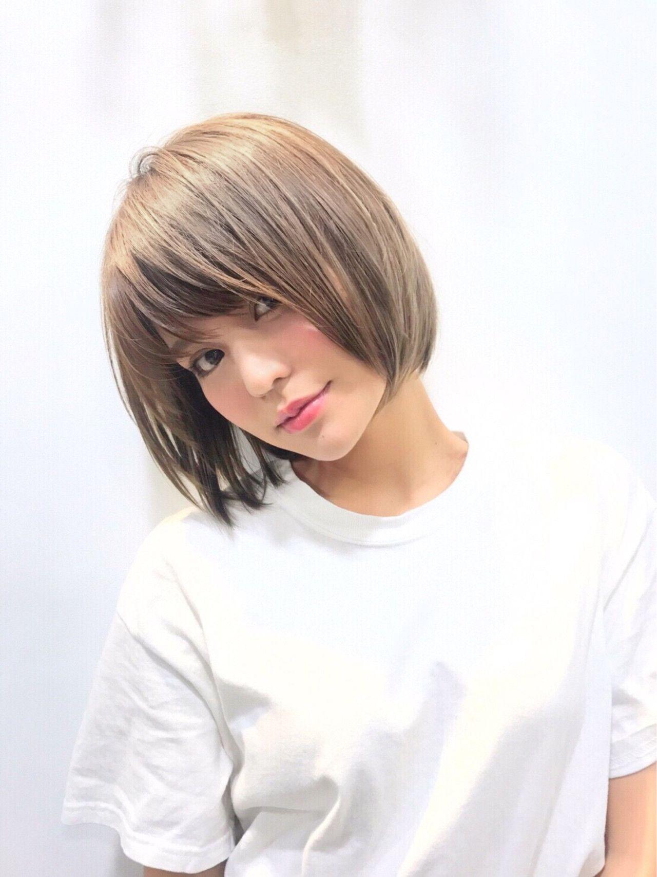 ハイトーンな透け感ヘアカラーで今年の夏は色素薄め美人に 髪型