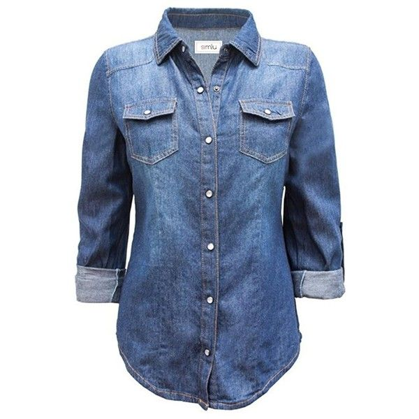 30ea010930 Long Sleeve Denim Button Down Shirt Slim Fit Blouse at Amazon Women s...  ( 25) ❤ liked on Polyvore featuring tops