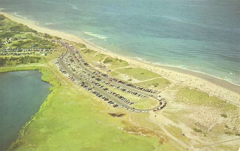 Aerial Photo Of Eastham S Coast Guard Beach Lower Parking Lot Bathhouse Prior To 1978 Capecod