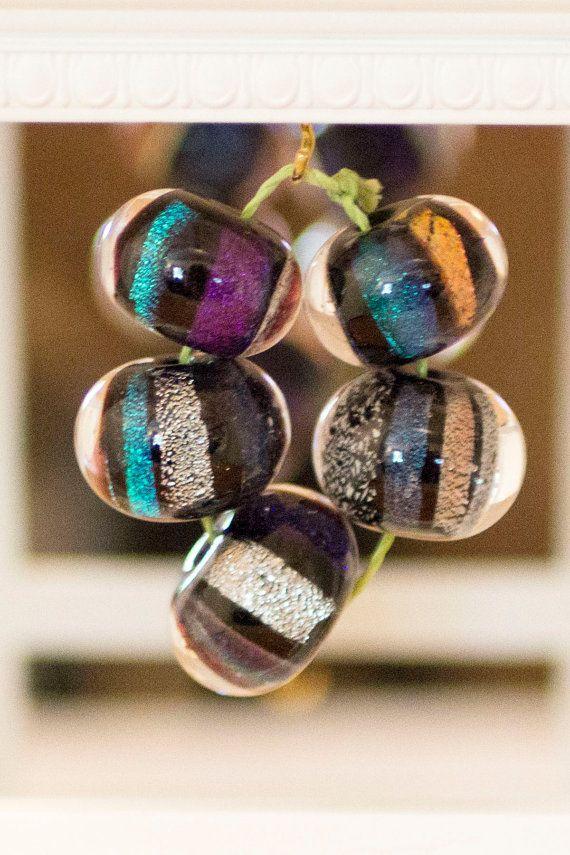 Set of 5 Encased Dichroic on Black Beads by BlueSkyBeadsinc, $23.50
