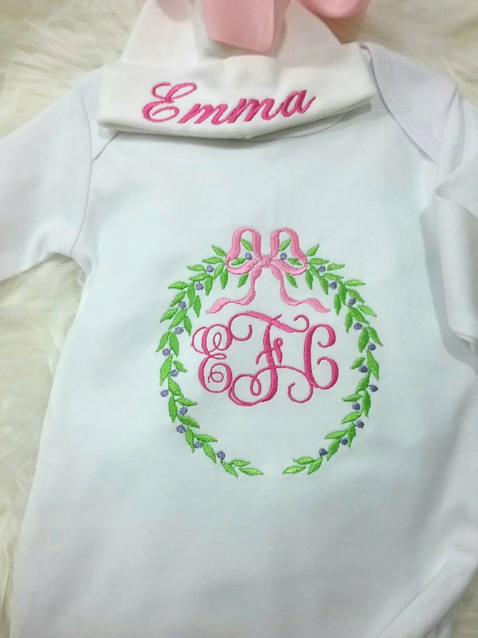 blush monogrammed infant gown newborn baby gown customized baby gown scalloped Pink monogrammed baby gown girls coming home outfit