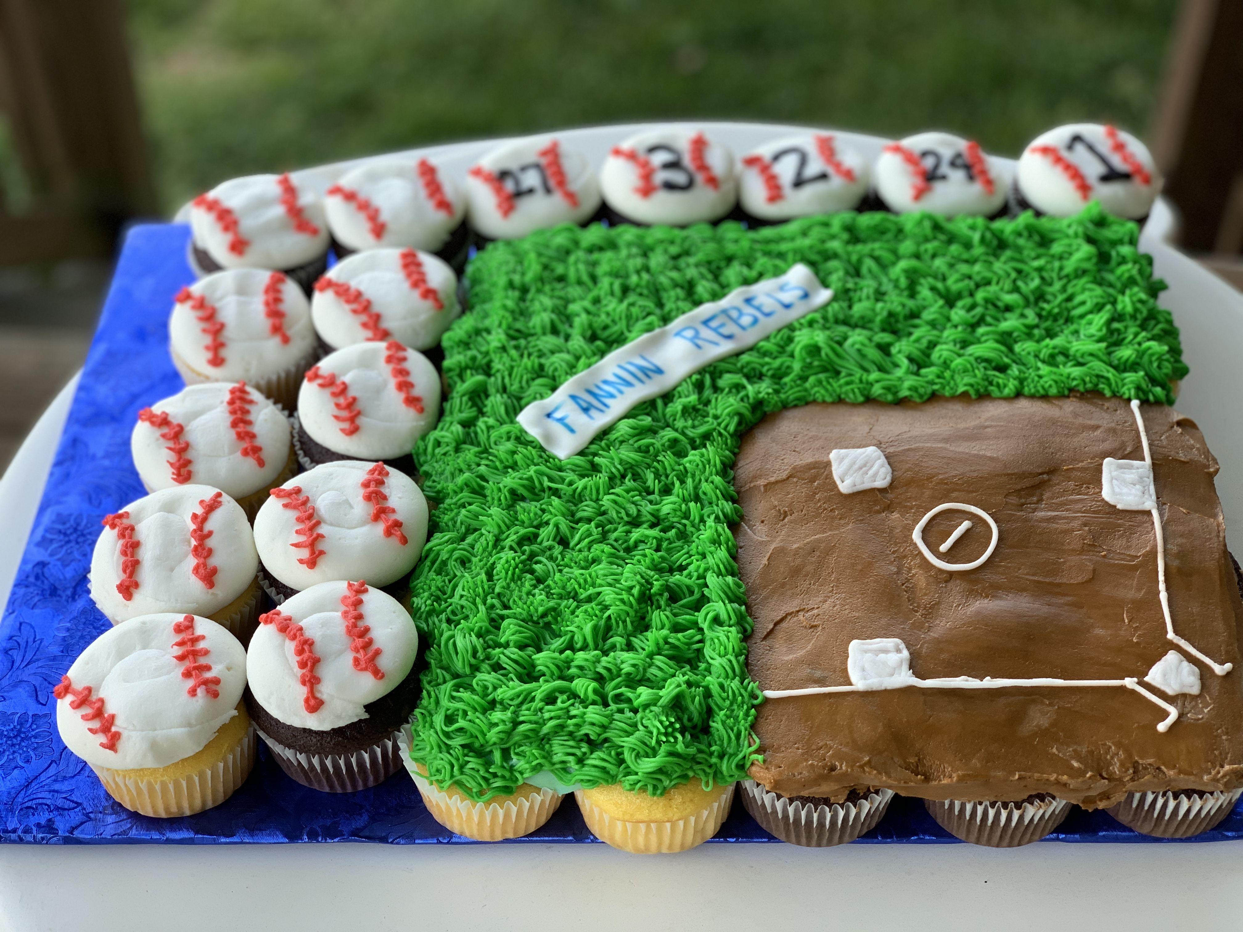 Magnificent Baseball Cupcake Cake Sports Birthday Cakes Baseball Birthday Funny Birthday Cards Online Necthendildamsfinfo