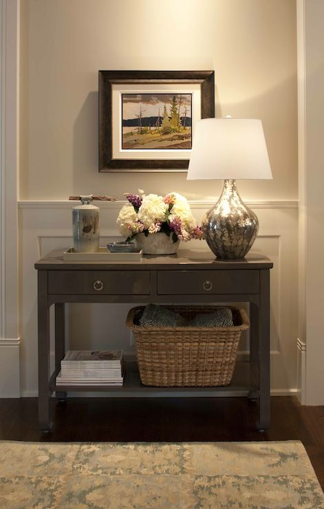 Traditional Foyer Table : Traditional foyer with light gray walls paint color paired