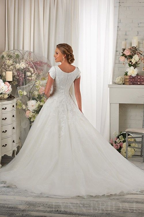 e166e0a44bf3 Classic Tulle Short Sleeves Princess Modest Wedding Dress with Lace ...