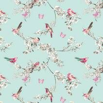 Duck Egg Beautiful Birds Fabric
