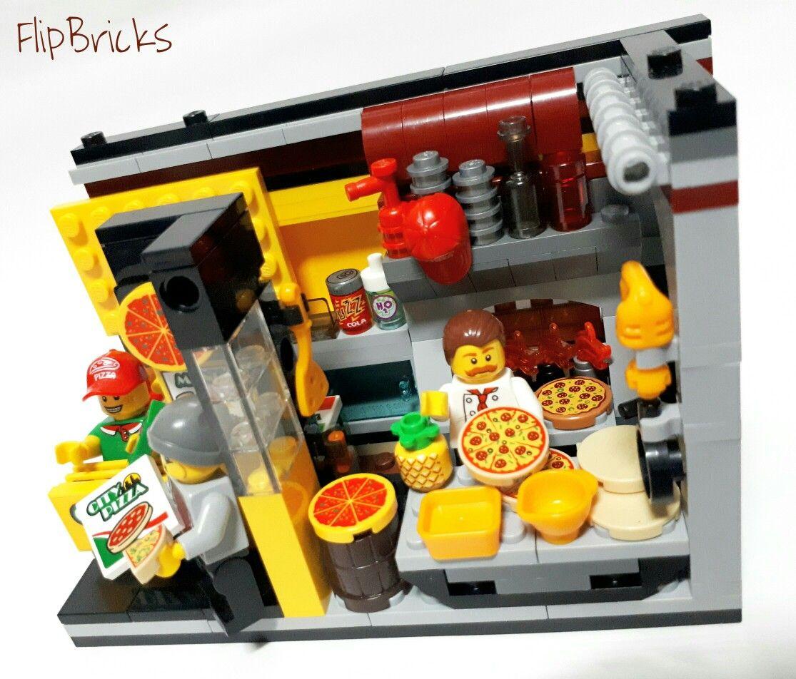 LEGO Pizza Shop 8x16 MOC by FlipBricks LEGO MOC