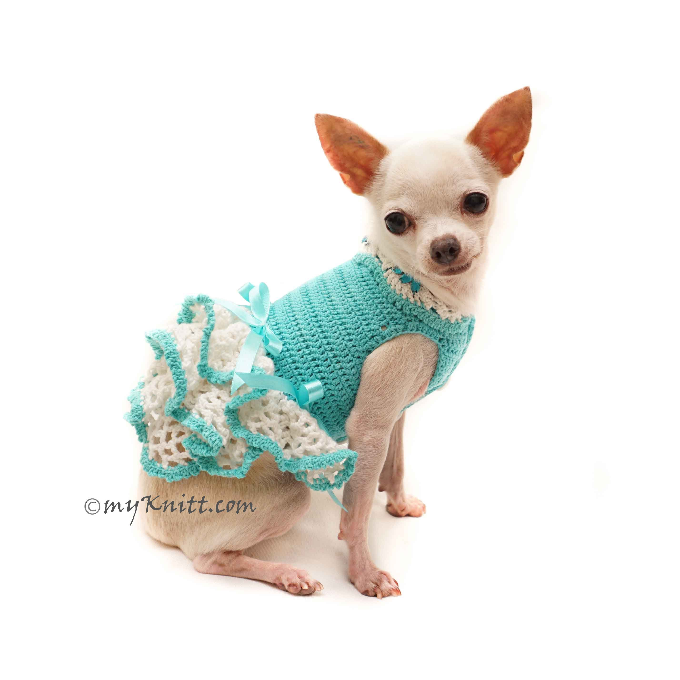 6d52f0cc1da5 Teal Chihuahua Clothes Dress, Custom Dog Clothes, Personalized Dog Clothes  Large DF126 by Myknitt