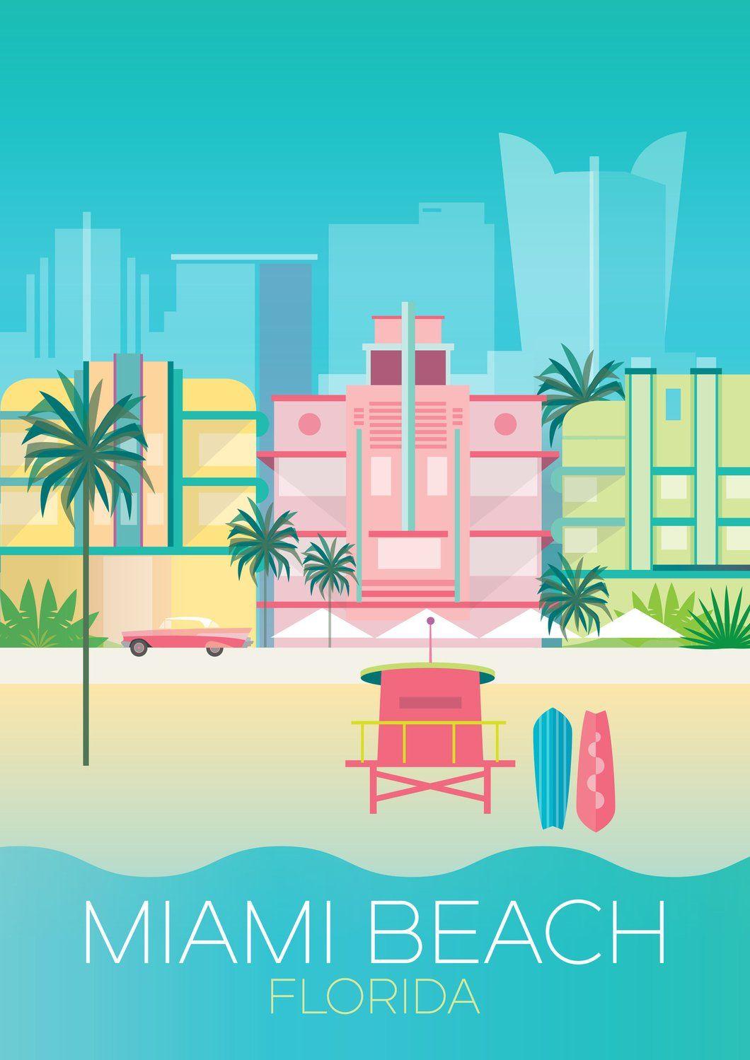 Miami Beach Print Miami Art Deco Miami Posters Beach Print