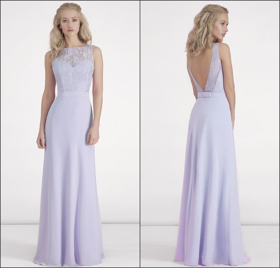 Lilac bridesmaid dresses chiffon long lace top backless sheer