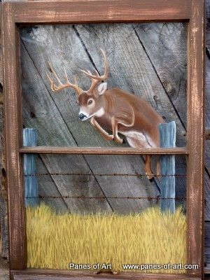 Neat idea for painting old windows on Panes of Art by Michele L ...