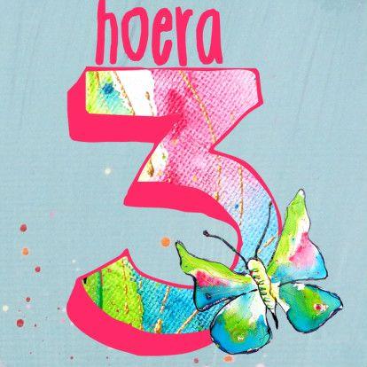 verjaardag 3 jaar Verjaardag meisje 3 jaar vlinder   Verjaardagskaarten   Kaartje2go  verjaardag 3 jaar