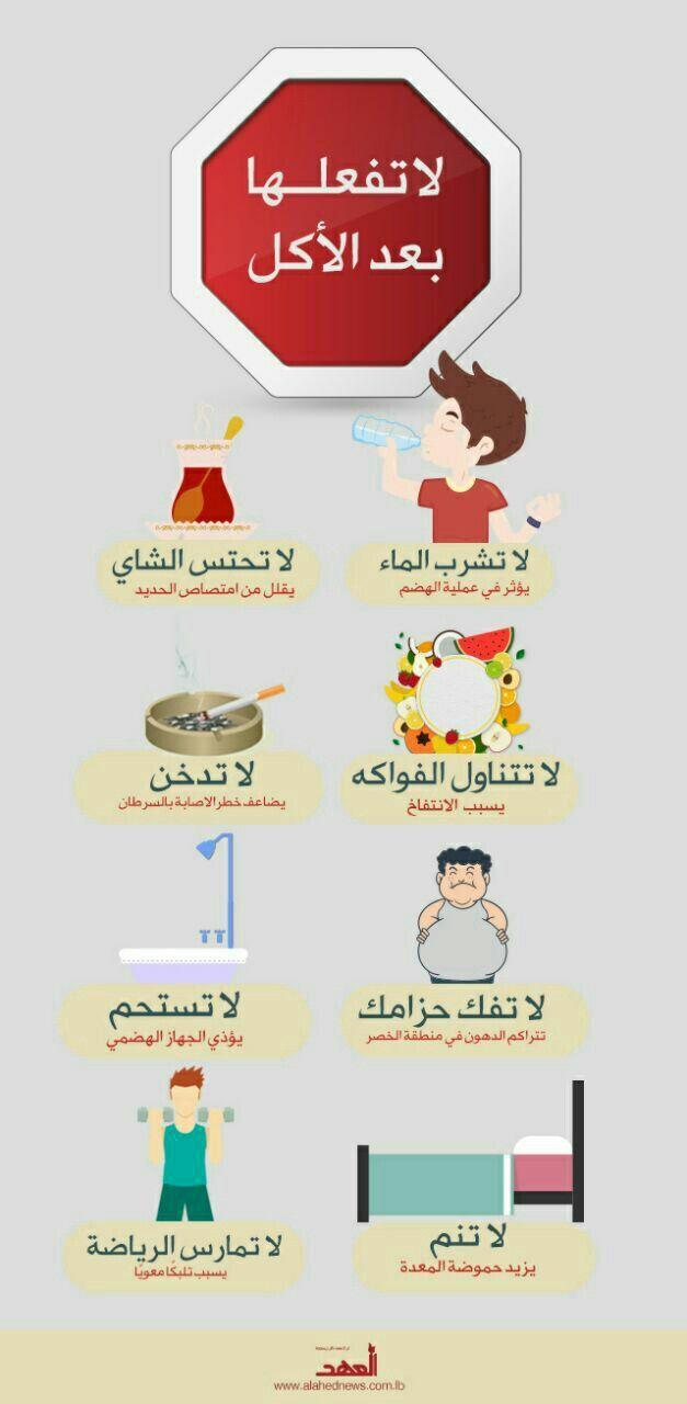 تجنب هذه الأمور بعد الأكل Health Fitness Nutrition Health Facts Health Diet