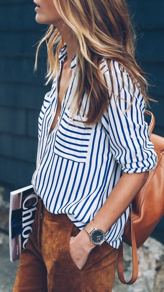 #summer #outfits White Striped Shirt + Brown Suede Pants