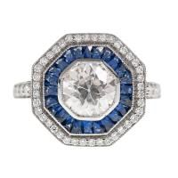 "1.02ct Round Brilliant Cut Diamond Sapphire ""Double Halo"" Ring"