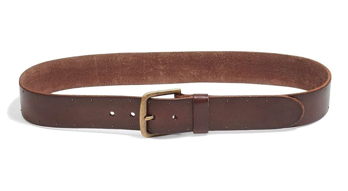 Lucky Brand Mens Brown Genuine Leather Studded Belt 34