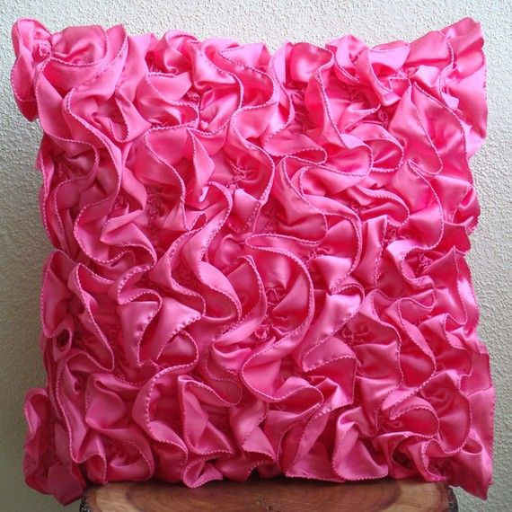 "Bright Pink with Satin Square Design Both Sides Zipped 16/"" Cushion Cover"