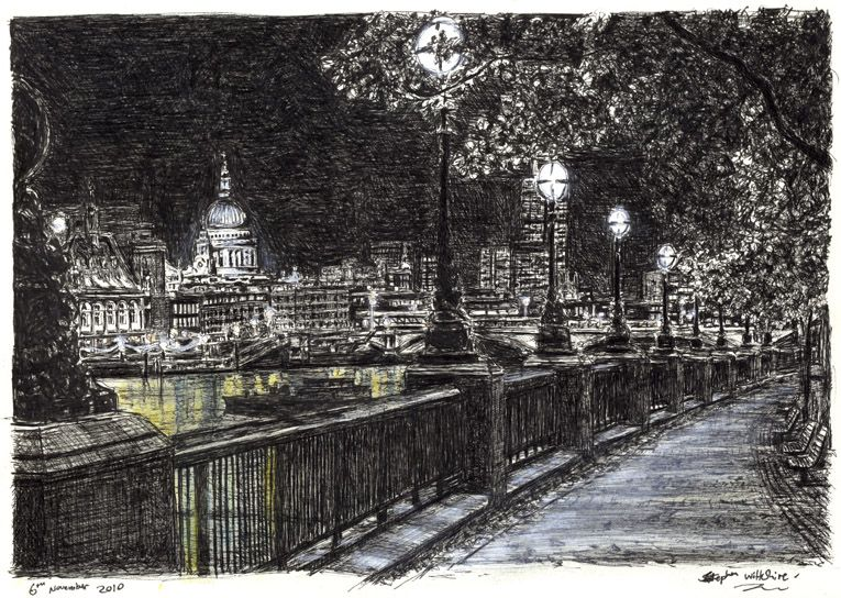 St Pauls and London skyline from Southbank at night ...