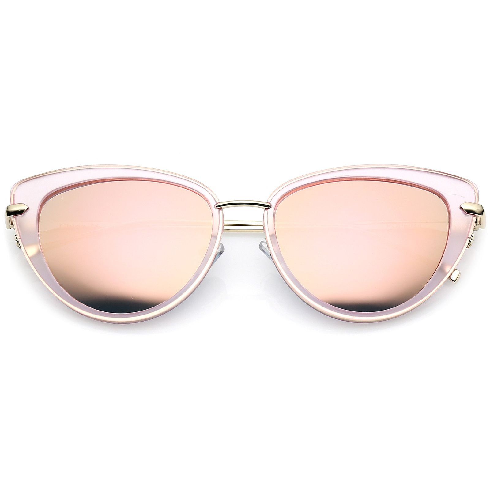 Exaggerated Oval Cat Eye Sunglasses Slim Metal Arms 55mm   Cat eyes