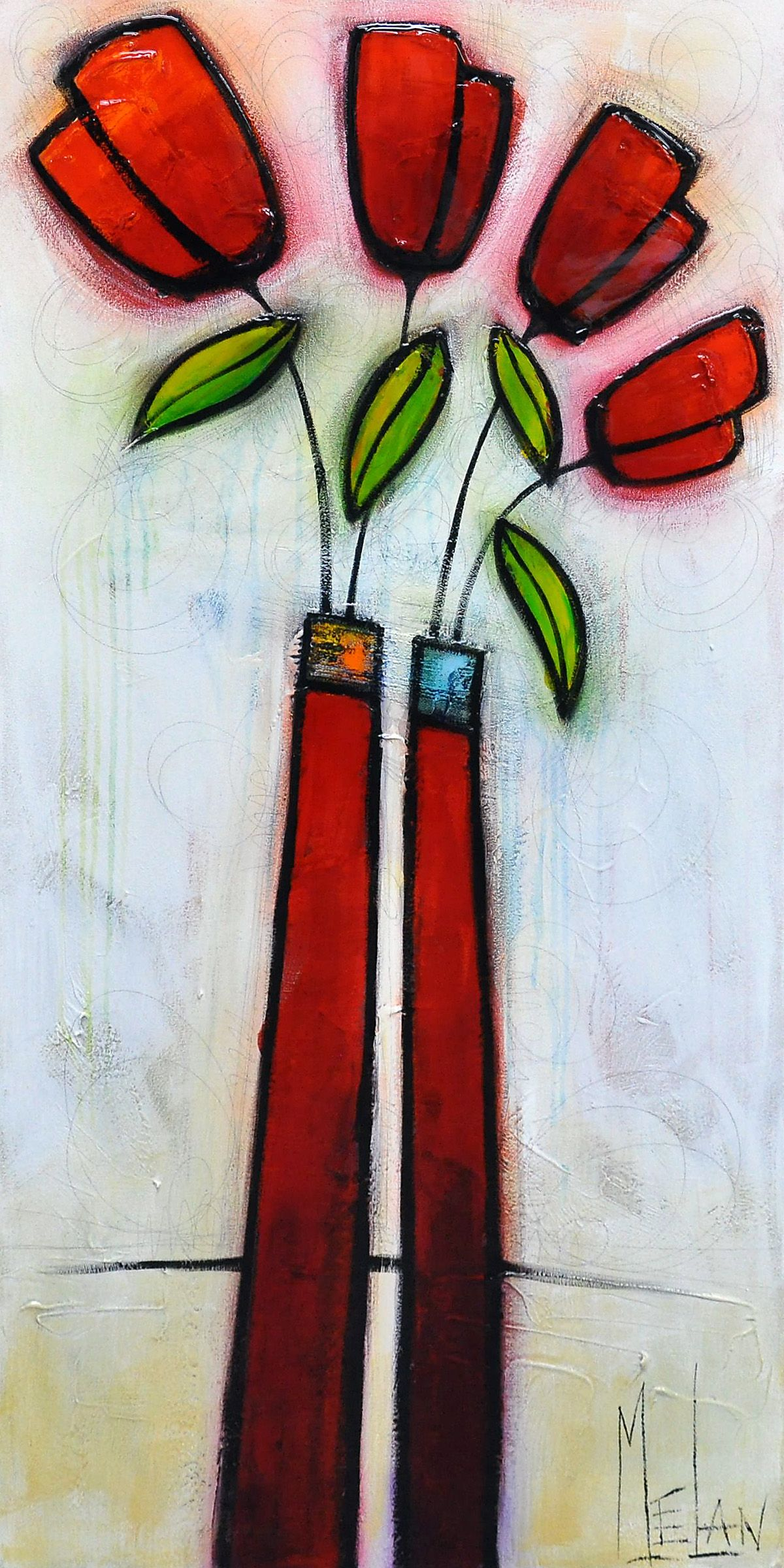 Notre Famille 48x24 Inches Abstract Flower Art Diy Canvas Art Abstract Flower Painting