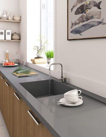 One Piece Kitchen Sink With Integrated Drainboard