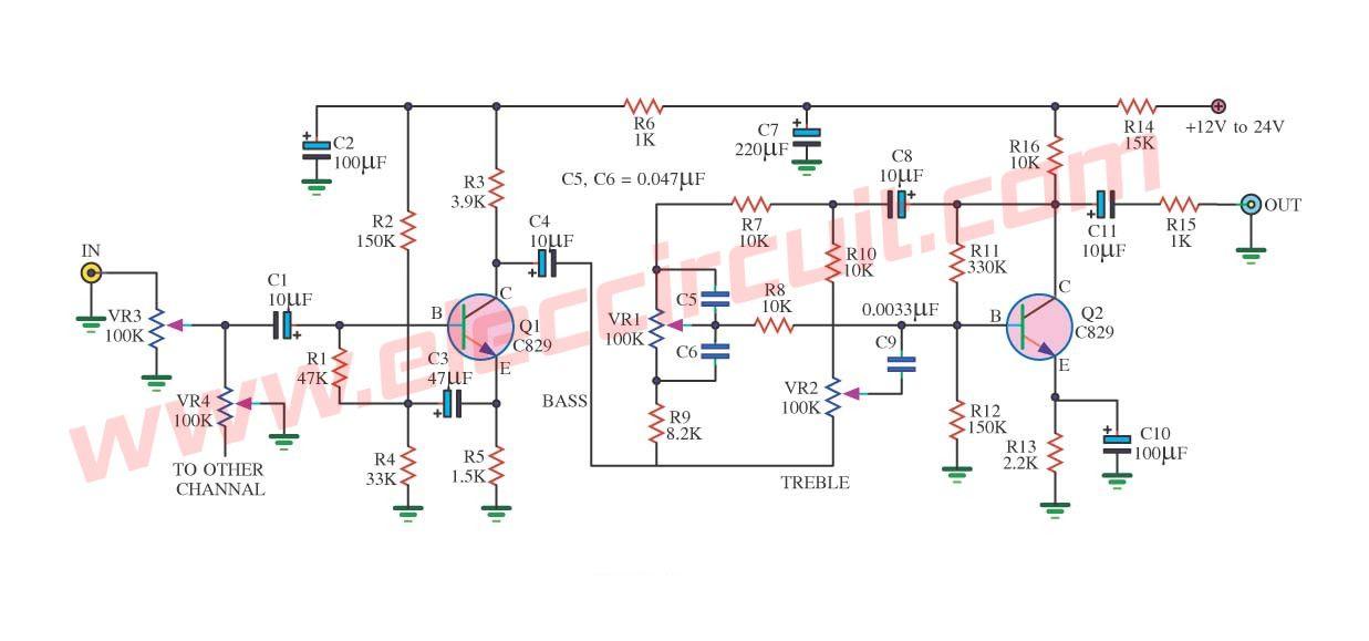 hi fi audio tone control circuit eleccircuit com powerthe circuit diagram of classic tone control using 2 transistors c945