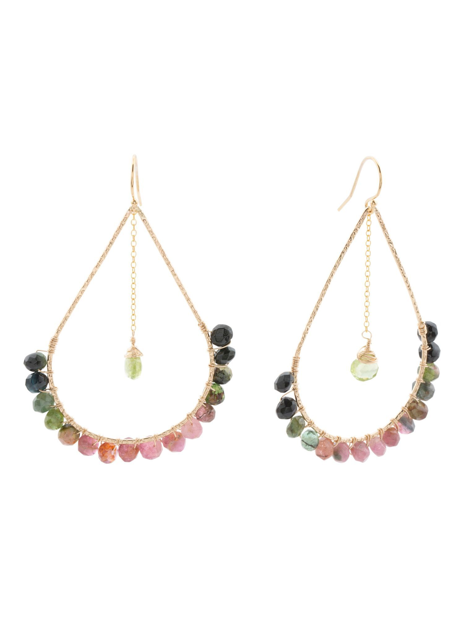 Made In Usa 14k Gold Filled Peridot And Tourmaline Earrings
