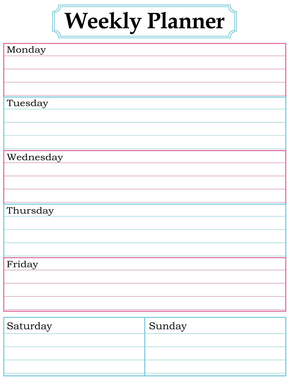 Free Printable Weekly Calendar Free Printable Weekly Calendar Pdf