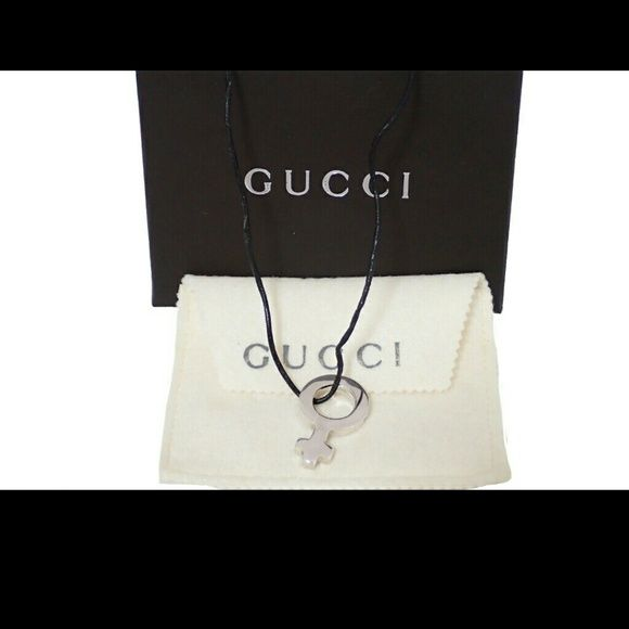 Authentic Gucci Venus symbol pendant Guaranteed authentic Gucci Venus symbol pendant leather necklace. Comes with box and dust cover. Made in Italy. Sterling silver and leather. Stunning. 1310 Gucci Jewelry Necklaces