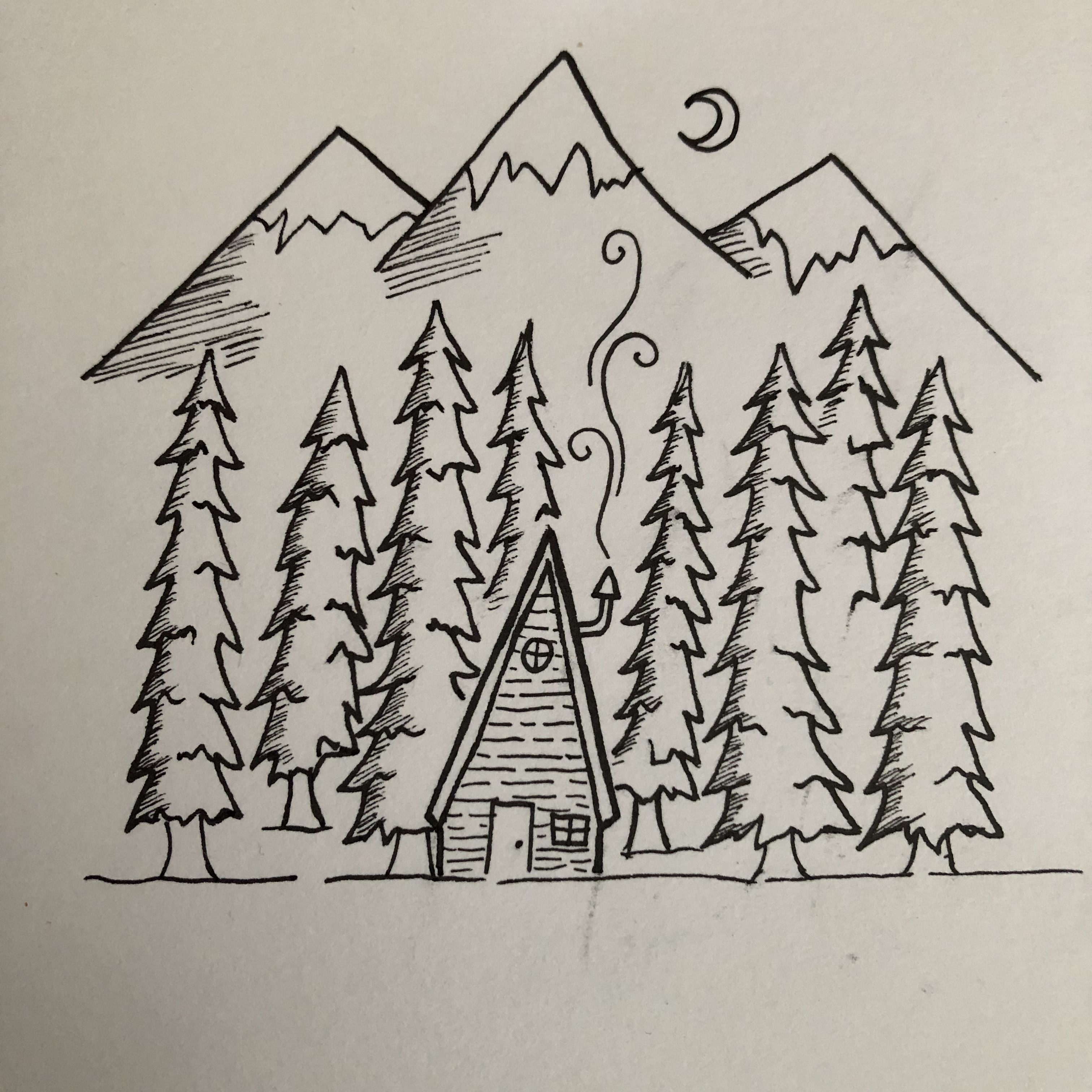 Black And White Pen Drawing Mountains Snow Moon Night Forest Wood Trees House Cabin Nature Chimney F Forest Drawing Pen Drawing Forest Drawing Easy