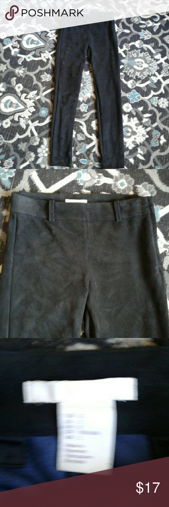 8d96b8d9f8a5f5 H&M black faux suede leggings 2 In excellent condition like New not lined  side zipper 94% polyester and 6% elastane inseam is 28