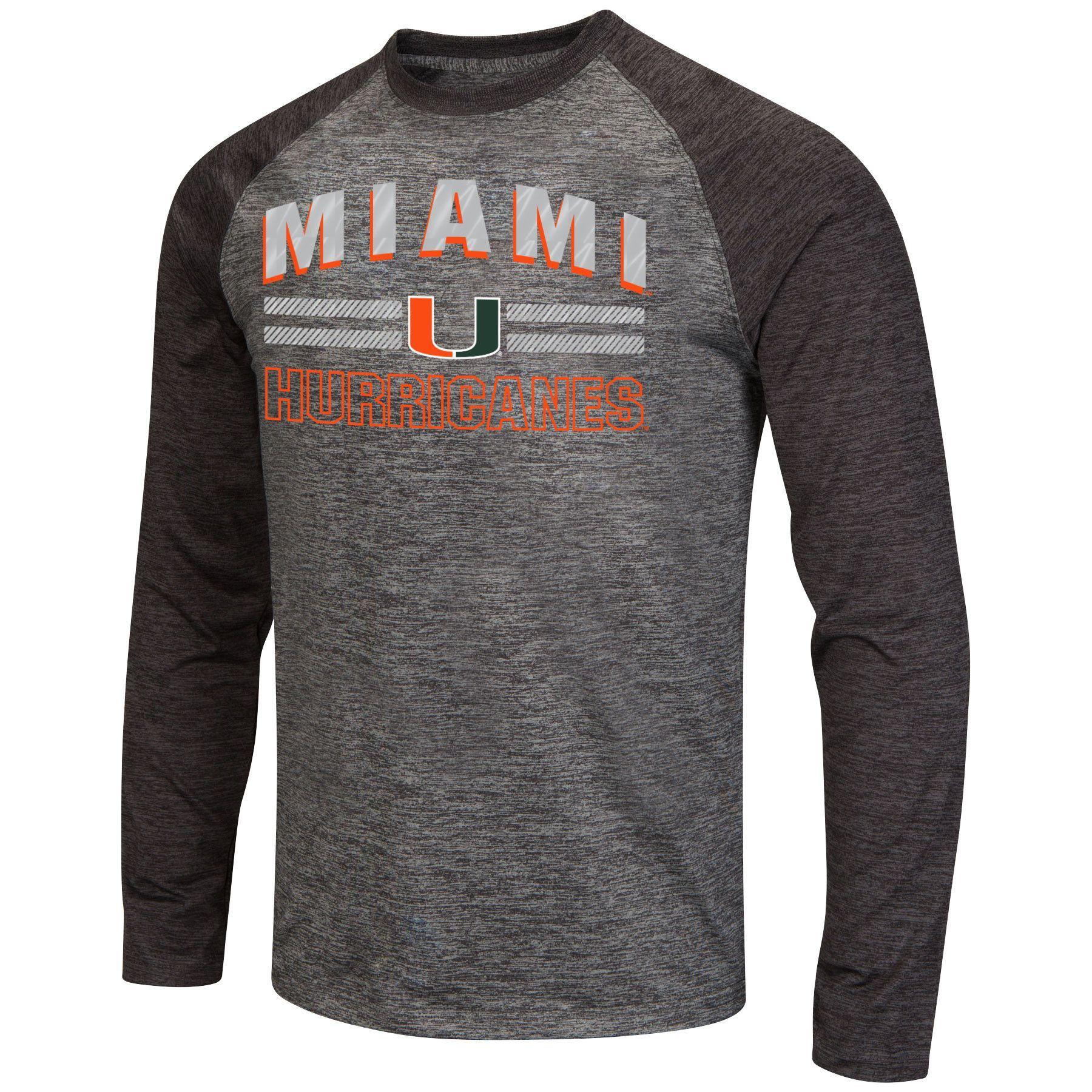 Miami Hurricanes Men's Raven L/S Shirt Reflective Gray