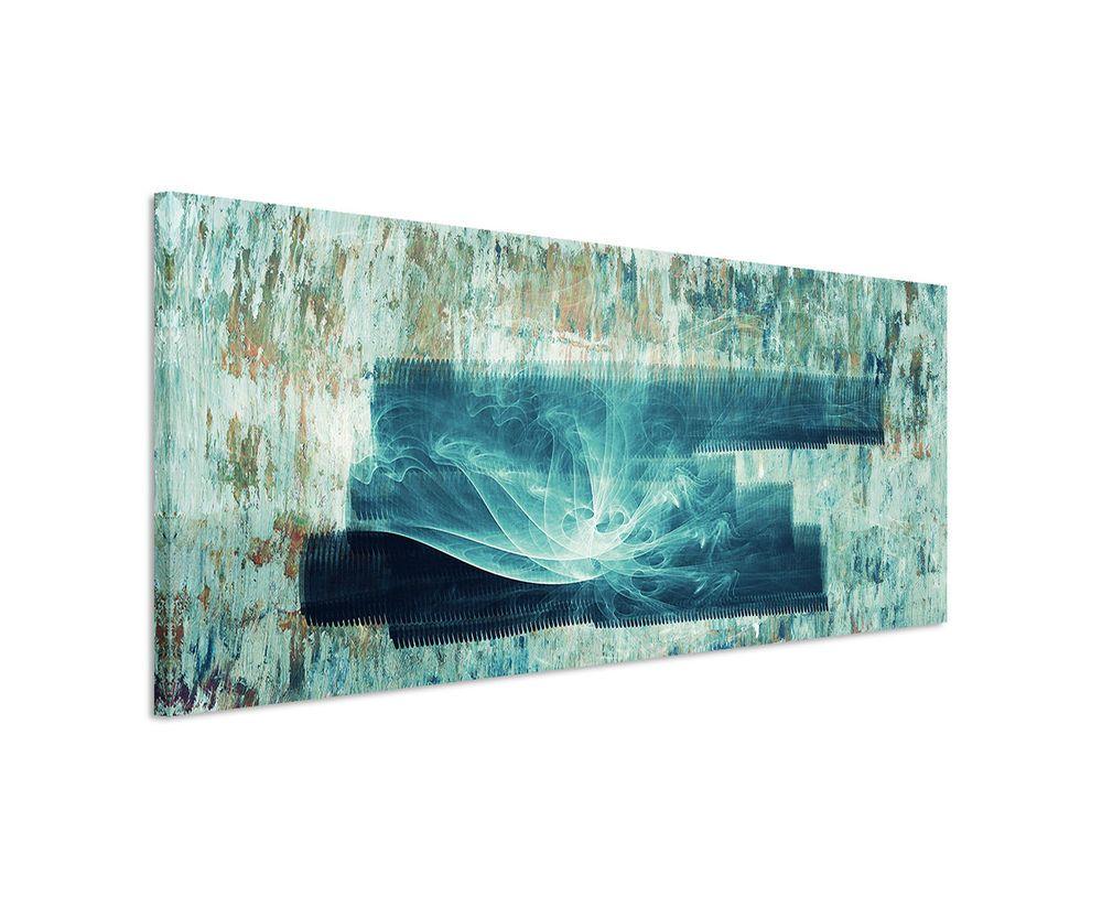 150x50cm panoramabild paul sinus art abstrakt grun blau braun creme wohnzimmer mobel wohnen dekoration bilder druc moderne malerei in acryl gemälde abstrakte kunst