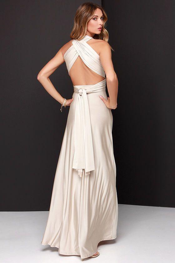 6f9d96576e23ef Always Stunning Convertible Beige Maxi Dress