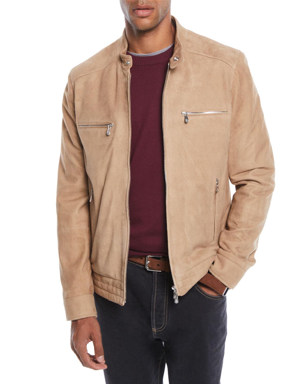 Brunello Cucinelli Men S Zip Front Lambskin Suede Jacket Suede Jacket Jackets Brunello Cucinelli Men [ 1500 x 1200 Pixel ]