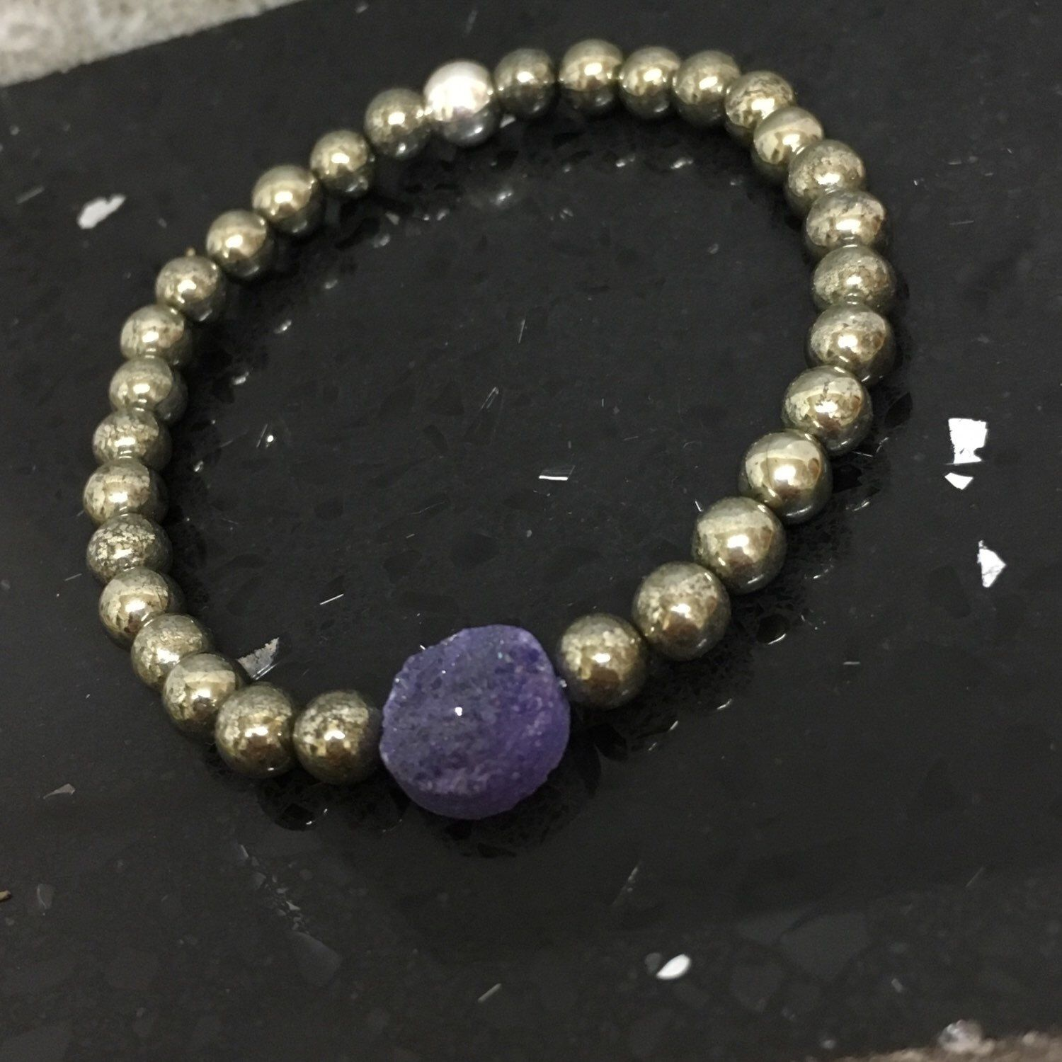 A personal favourite from my Etsy shop https://www.etsy.com/uk/listing/259326836/dark-violet-druzy-quartz-pyrite-fools   #shopsmall #gemstone #Etsy #Accessories #EtsyGifts #jewellery #luxurious #Bohemian #EtsyFinds #gift #gemstonegifts