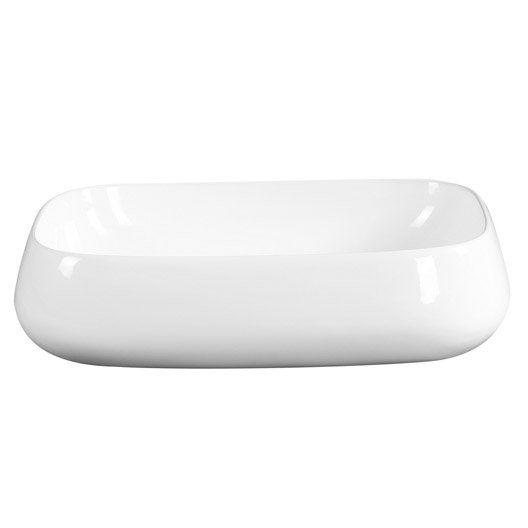 Vasque A Poser Ceramique L 56 X P 42 Cm Blanc Carole Vasque A Poser Vasque Ceramique