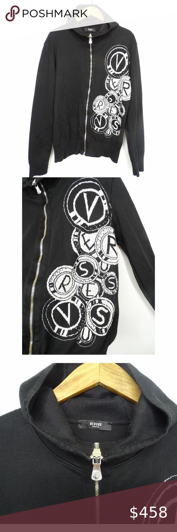 Versace Zip Front Logo Embossed Hoodie Sweatshirt Gianni Versace Zip Front Logo Embossed Hoodie Sweatshirt Like New Co Sweatshirts Hoodie Versace Versace Logo