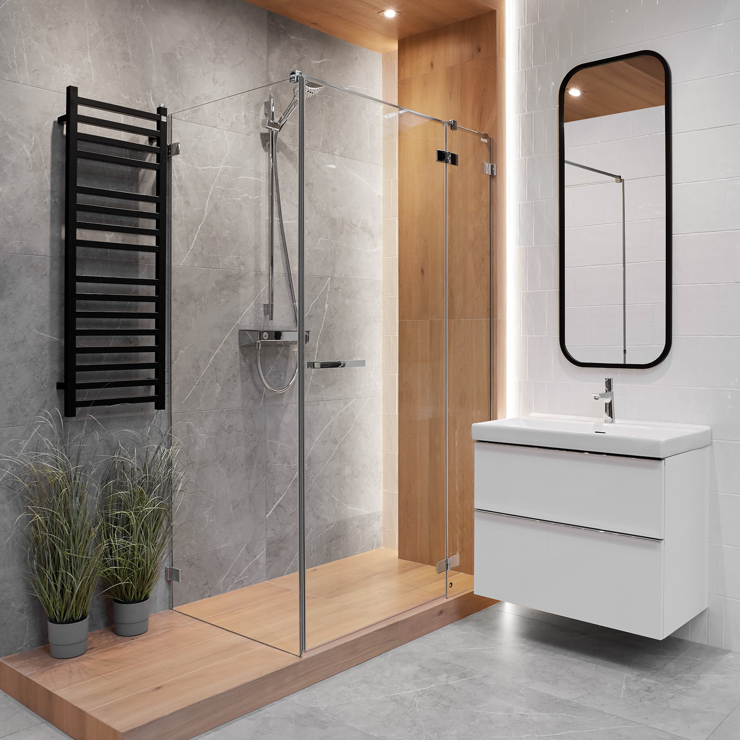 Katania Grey Kamien I Drewno W Lazience Grey Bathrooms House Design Home
