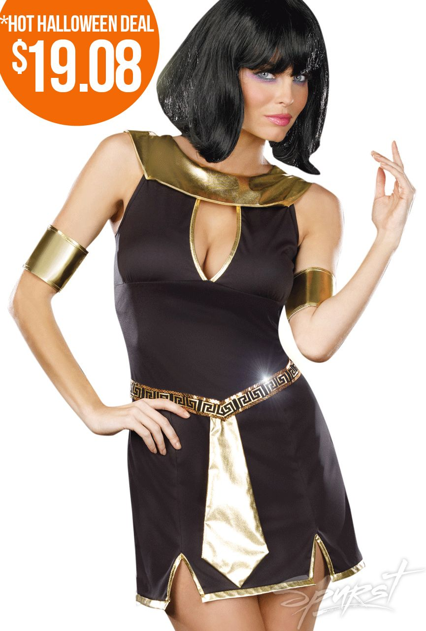 Halloween costumes  sc 1 st  Pinterest & Just Like Cleopatra Costume Black Egyptian-style mini dress with ...