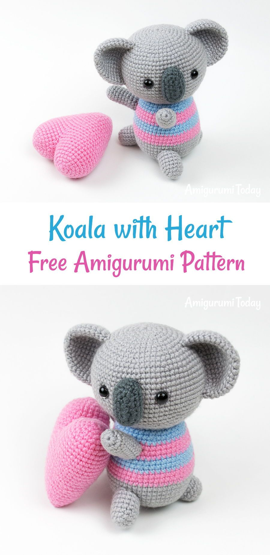 Amigurumi koala with heart pattern | CRAFTS - Crochet & Knitting ...