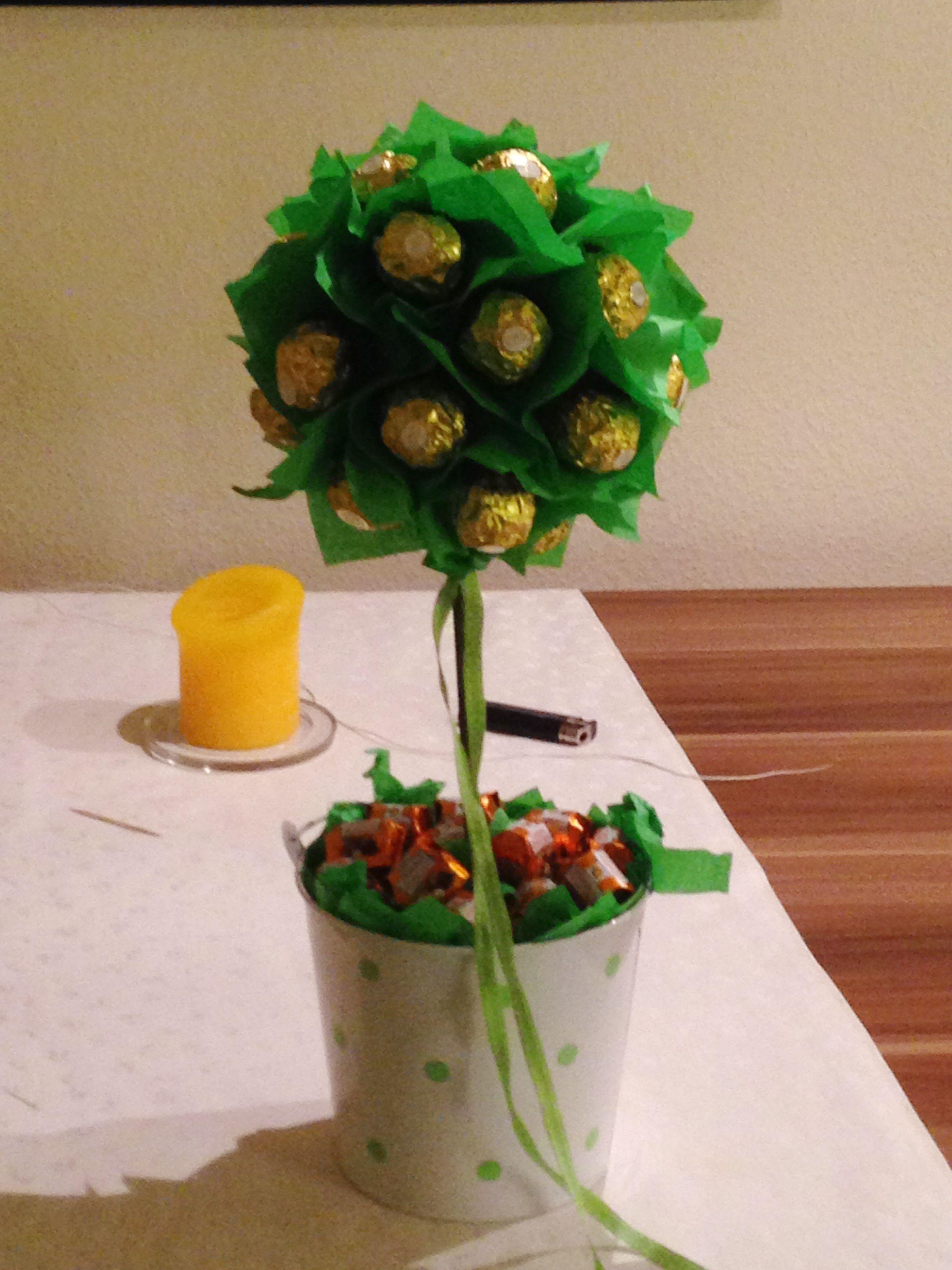 Geschenkbaum aus Süßigkeiten 1 Styroporkugel 1 Holzstarb 1 Eimerchen ...