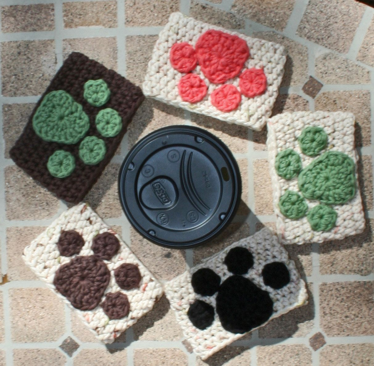 Crochet cotton coffee sleeves paw print custom order for keep crochet cotton coffee sleeves paw print custom order for keep the tail wagging bankloansurffo Image collections