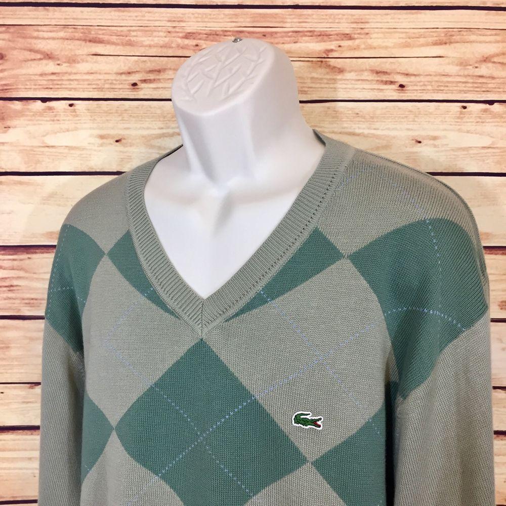LACOSTE Green Argyle V-Neck Long Sleeve Sweater Mens Size 8 XXL Cotton 2XL EUC   | eBay