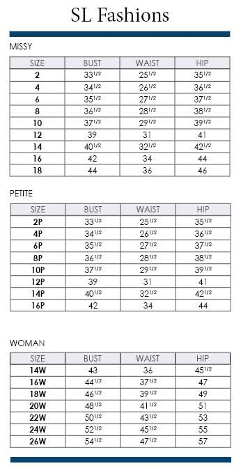 Sl Fashions Size Charts Including Plus Via Dillards Brand