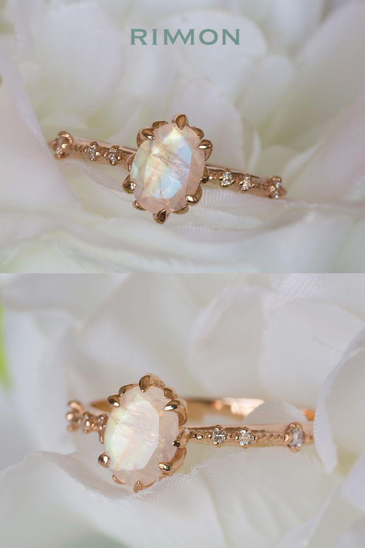 Moonstone engagement ring moonstone ring gold moonstone wedding